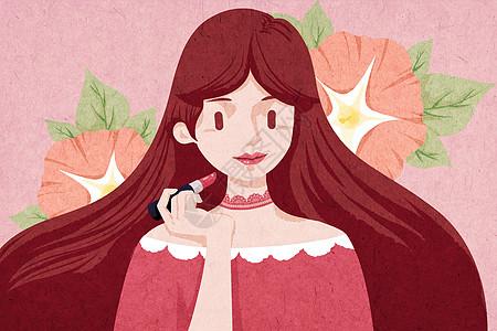 涂口红美妆创意插画图片