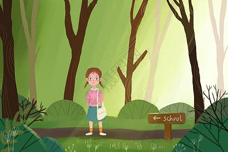 开学季女孩上学插画图片