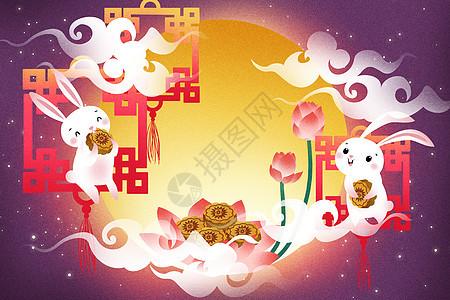 卡通中秋节插画图片
