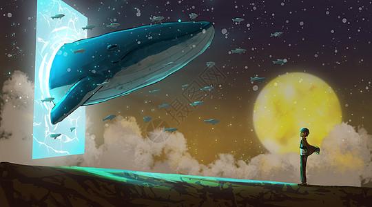 奇幻梦境中的鲸鱼与少年图片