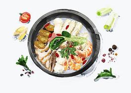 美食火锅插画图片
