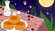 中秋美味月饼插画图片