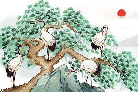 仙鹤延年图片