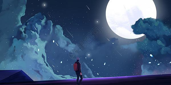 屋顶月亮流星插画图片