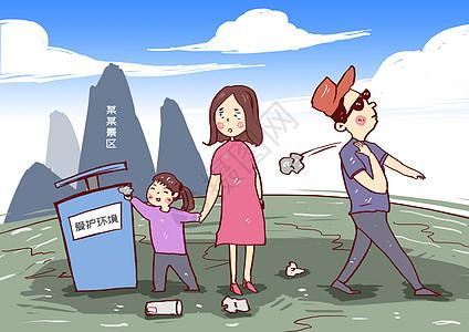 景区文明请勿乱扔垃圾漫画图片