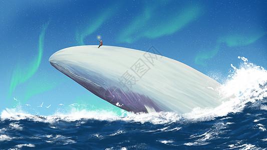 坐在鲸鱼上放星星的小男孩图片