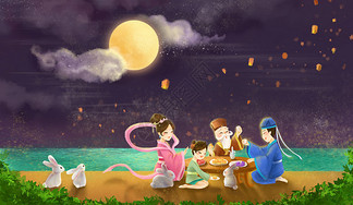 手绘中秋节图片
