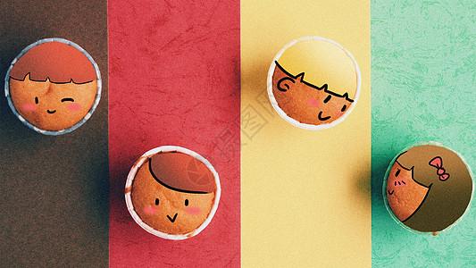 可爱纸杯蛋糕创意摄影插画图片
