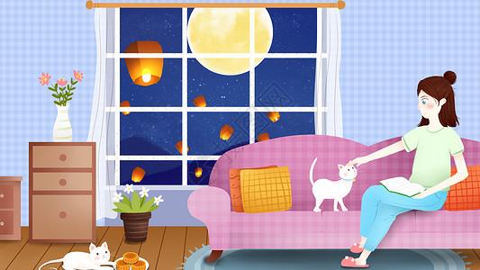中秋节女孩室内插画图片