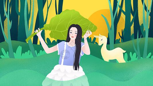 森林女孩和鹿图片