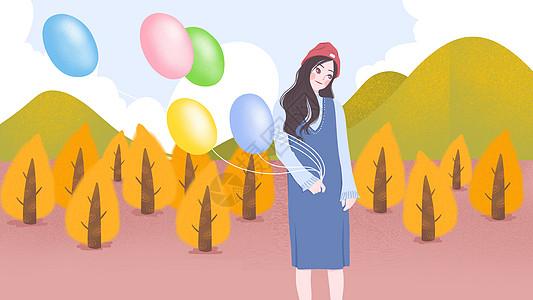 文艺小清新牵气球女孩秋天秋分插画图片