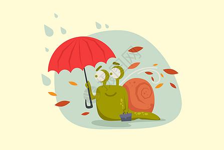 打伞的蜗牛先生图片