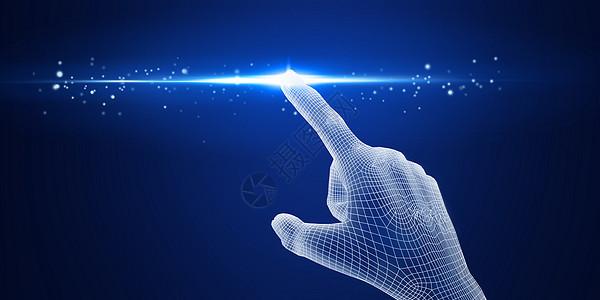 3D线框手势触碰科技图片