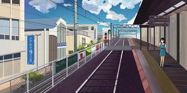 车站插画图片