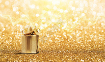 金色礼盒海报图片