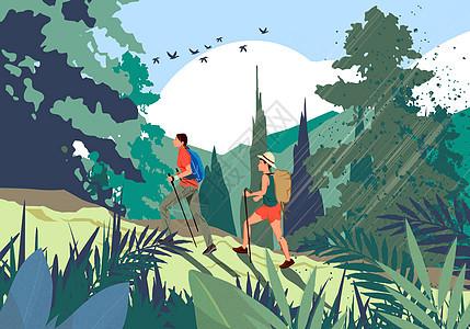 夏季旅游之徒步爬山图片