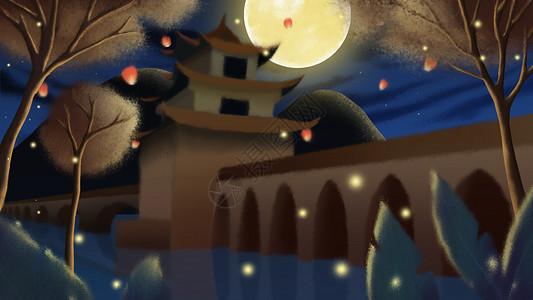 中秋节圆月古楼夜景插画图片