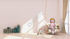 假日阳光与猫咪创意摄影插画图片