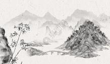 水墨风山川背景图片