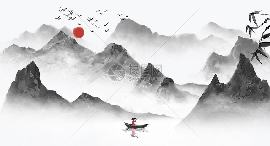 水墨风山丘背景图片