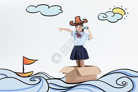 航海创意摄影插画图片