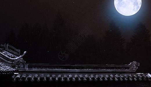 月下古建筑图片