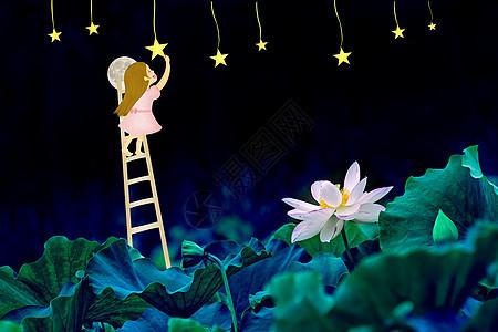 爬上月亮摘星星picture