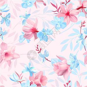手绘唯美花卉背景图片