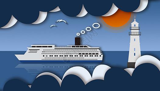 剪纸风航海图片