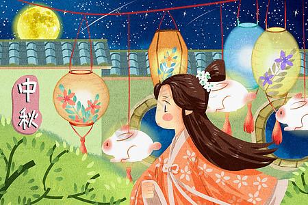 中国风夜晚中秋节女孩逛花灯插画图片