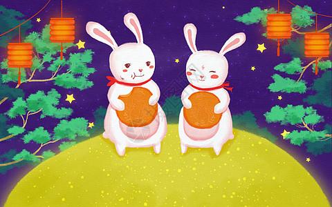 中秋节玉兔团圆质感插画设计图片