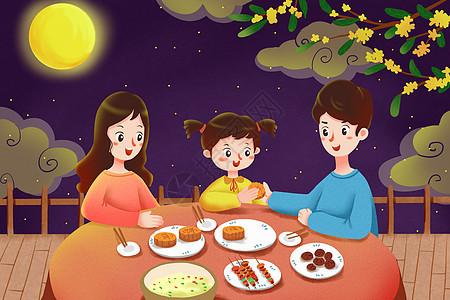 一家人吃月饼的图画图片