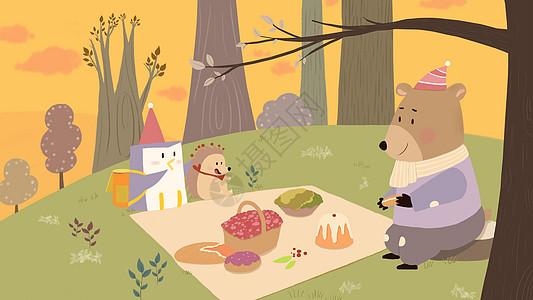 小动物的秋游图片