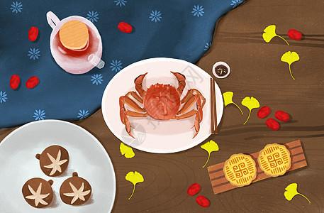 中秋节餐桌美食插画图片