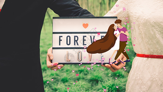结婚幸福瞬间创意摄影插画图片