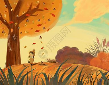 秋天吃坚果的小松鼠图片