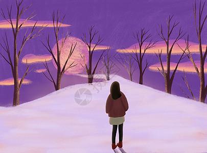 雪夜云月唯美女孩插画图片