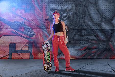 涂鸦街舞美女图片