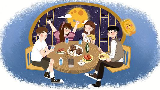 合家团圆中秋节插画图片