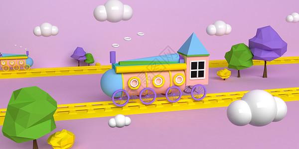 儿童火车模型场景图片