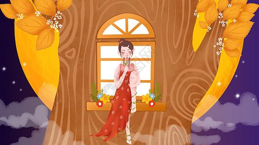 中秋节桂花树小仙女插画图片
