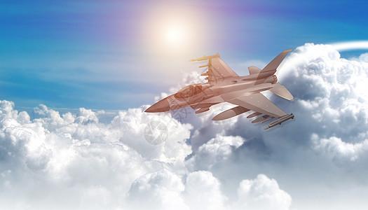 高空云层中飞行的战斗机图片