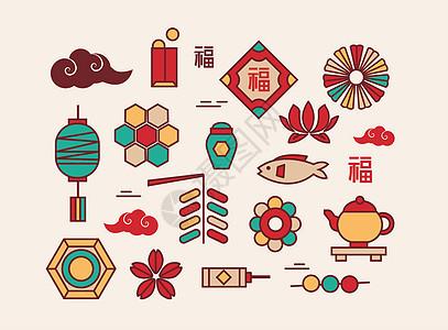 中国风中秋节日传统元素图片