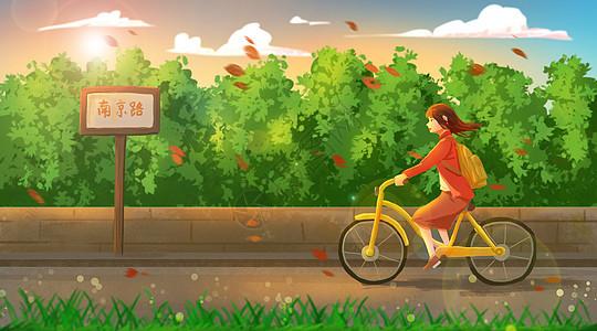 迎着落叶骑小黄车的女孩图片