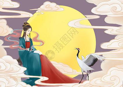 中秋节嫦娥奔月插画图片
