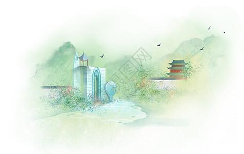 亭子水墨背景图片