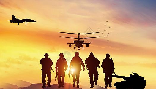 战争演习剪影图片