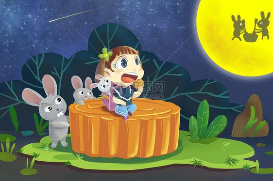 中秋佳节赏月插画图片