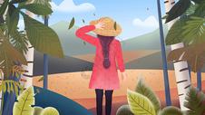 节气霜降户外女孩插画图片