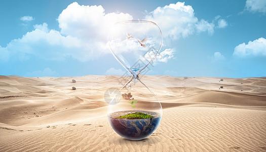 创意沙漠沙漏场景图片